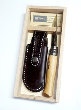 Picture of Pencil Case Opinel No8 Beechwood with Brown Pouch TAW 400