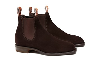 Chocolate RM Williams Suede Craftsman with Comfort Rubber Sole