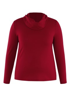 Picture of Hedrena Cowl Neck Long Sleeve Top Red