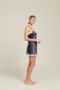 Picture of Ginia Silk Chemise With Pintucks and Lace -Smoke