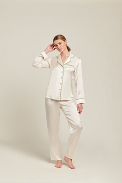 Picture of Ginia Silk Pyjama With Contrast Piping -Creme