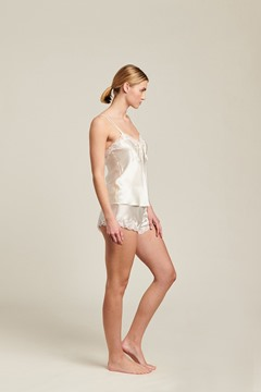Picture of Ginia Silk Cami with Pintuck and Knickers with Lace -Creme
