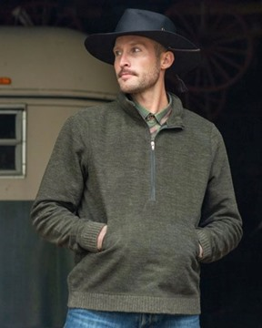 Picture of Outback Trading Mens Broderick Henley Jumper Breen