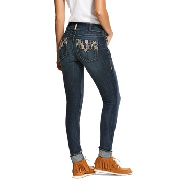 Picture of Ariat Womens R.E.A.L. Mid Rise Stretch Deco Tile Skinny Jean