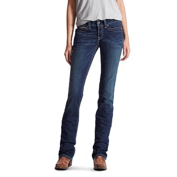 Picture of Ariat Womens R.E.A.L. Straight Icon Mid Rise Jean Ocean
